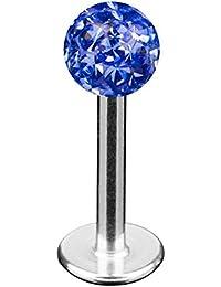 Taffstyle® Piercings - Lippenpiercing Lippe Schmuck Piercing Labret Stecker Lippenstecker mit Ferido Multi Kristall Kugel