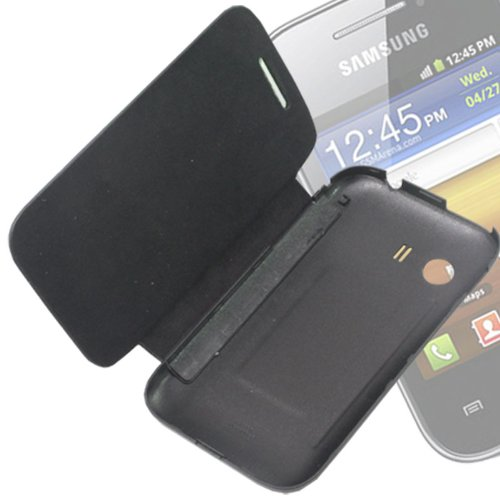 Black Leather Back Case Cover Flip Pouch For Samsung Galaxy Y S5360 -FS03