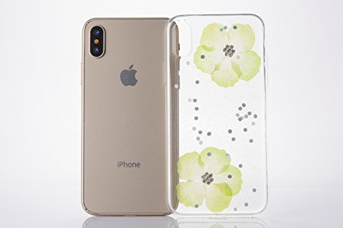 Cover iPhone X - Custodia in Glitter Silicone TPU - Surakey Belle iPhone 10 Custodia Brillantini Fiore Bling Diamante Trasparente Slim Ultra Sottile Gomma Morbida Gel Case Antigraffio Antiurto Flessib Verdi