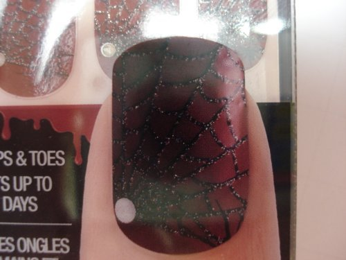 28 RED WITH SILVER SPIDER WEB DESIGN NAIL & TOE STRIPS by Kiss (Spider Web Nails)