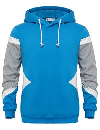 GLESTORE Sweat-Shirt Capuche et Slim Fit Hoodies Homme Col Rond Manches Longues Bleu S