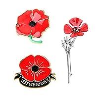 JOERICA 3 Pcs Red Poppy Brooch Pin for Women Men Lapel Badge Poppy Flower Pin Remembrance Day Lest We Forget Floower Badge Broach.