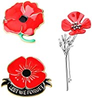 JOERICA 3 Pcs Red Poppy Brooch Pin for Women Men Lapel Badge Poppy Flower Pin Remembrance Day Lest We Forget F
