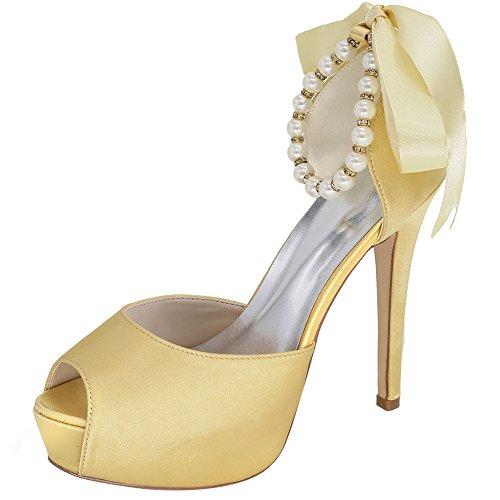 Brautschuke Neue Pearl Chain Fine-Heeled Schuhe Frühling und Sommer Sweet Hochzeitsschuhe Stiletto Heel Button Night Club Super High Heel Platform Satin,g,37 -
