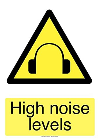 high noise levels self adhesive laminated safety sticker 150mm x