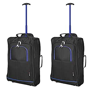 Set of 2 Super Lightweight Cabin Approved Luggage Travel Wheely Suitcase Wheeled Bags Bag Black/Blue