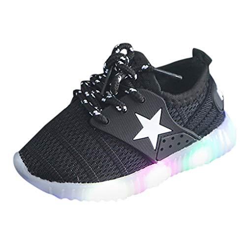 Unisex Kinder Schuhe mit Licht LED Leuchtende Blinkende Sneaker,Dorical Babyschuhe Sommer Atmungsaktiv Mesh Sportschuhe Lauflernschuhe Krabbelschuhe mit Weiche Sohle 21-35 Turnschuhe(Schwarz,27 EU)