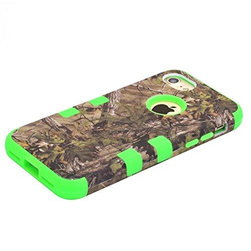 """iPhone 7 Hülle,Lantier 3 in 1 Combo Tarnungs Waldentwurfs Schlag Resorptions Widerstand harte Defender Plastikschutz Hülle Abdeckung für iPhone 7 4.7"""" 2016 Lila Green Tree Green"""