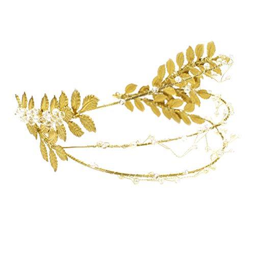 Lurrose Bandeau à feuilles d'oliviers Golden Goddess avec serre-tête à décor de perles transparentes