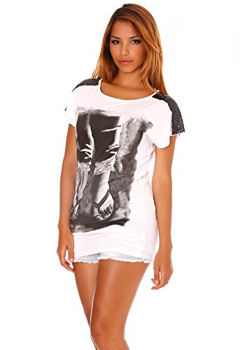 dmarkevous - T-shirt noir avec motif Tong à strass Blanc
