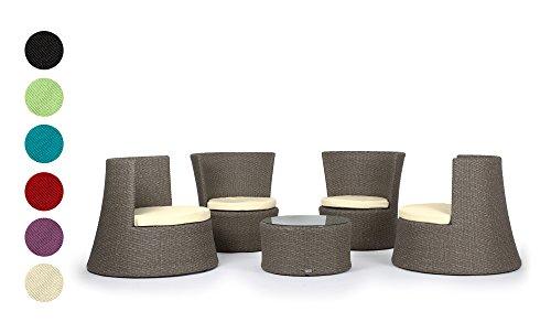 Rattan4Life Pisa Rattan grau / schwarz Polyrattan Gartenmoebel Sitzgruppe Lounge Moebel Set Tisch Gartentisch Sessel Sofa Stuhl Kissen Balkon Garten (Teak Set Sofa)