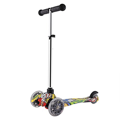 Profun Patinete Scooter para Niños Patinete de 3 Ruedas PU LED Luces...