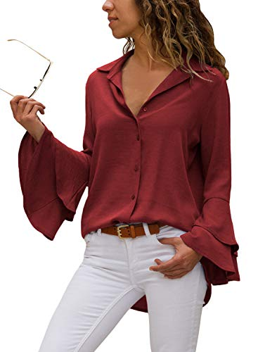Happy Sailed Damen Trompetenärmel Elegant Causaul Chiffon Bluse Hemd Oberteil S-XXL, Rot, Medium (EU40-EU42)