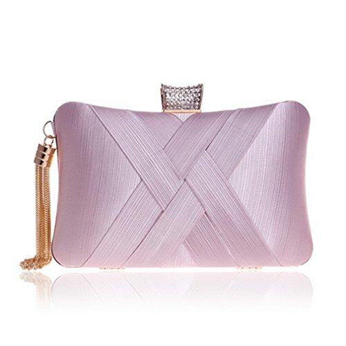 Metalltroddel-Dame Clutch Bag mit Kettenschulter-Handtaschen Klassische Art-Kleine Geldbeutel-Tagesabend-Handtaschen YM1185pink -