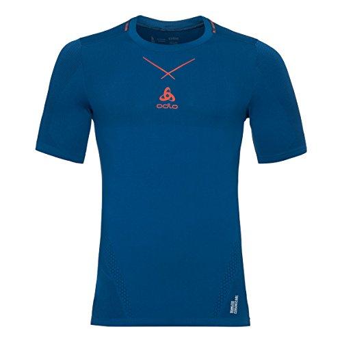 Odlo Herren Shirt S/S Crew Neck Ceramicool Seamless Unterwäsche blue opal - orangeade