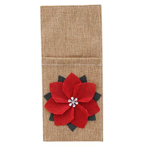 Garispace 20 stücke Besteck Abdeckung Sackleinen Serviette Abdeckung Messer Gabel Besteck Spitze Blume Beutel Geschirr Utensilien Tasche für Party Weihnachtsschmuck Geschenke(rot)