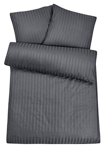 Carpe Sonno Luxuriöse Damast-Bettwäsche in Exklusiver Hotelqualität 135 x 200 cm Grau Anthrazit aus 100% Baumwolle Schlafkomfort – Hotel-Bettwäsche Set mit Kopfkissen-Bezug und Edlen Damast-Streifen