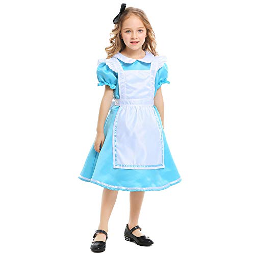 QYS Mädchen Halloween Maid Kleid Kostüm Kinder Alice im Wunderland Cosplay Kostüm,S (Für Kinder Alice-kostüme)