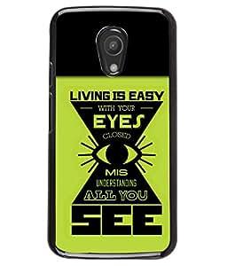 PRINTVISA Living is Easy Premium Metallic Insert Back Case Cover for Motorola Moto G2 - D5874