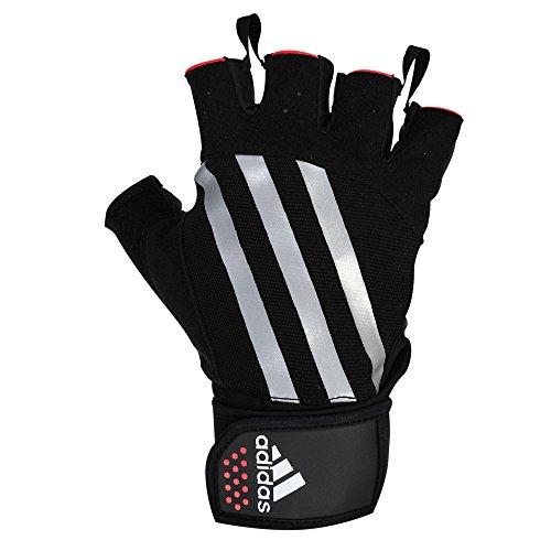 Adidas Weightlifting Guantes de Pesas, Unisex Adulto,color: Negro con rojo, talla del manufacturier...