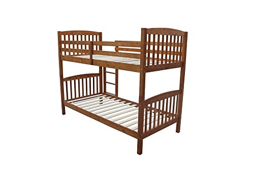Homegear 3FT Solid Pine Wooden Bunk Bed - Can Split into 2 Single Beds Honey