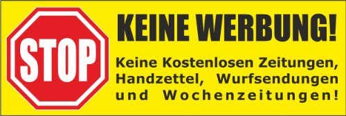 be Briefkastenaufkleber 105x35 mm- Keine kostenlosen Zeitungen, Handzettel, Wurfsendungen und Wochenzeitungen! ()