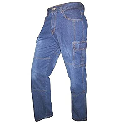 Juicy Trendz Prime Denim Cargo Motorcycle Motorbike Work Trousers Jeans Protection Lined