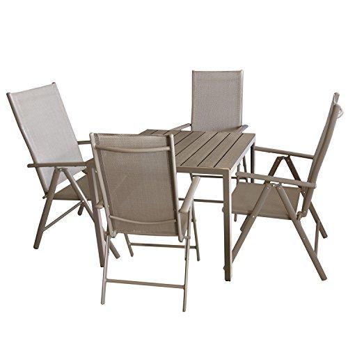 Multistore 2002 5tlg. Bistrogarnitur Aluminium Gartentisch mit Polywood Tischplatte, Champagner/Mokka 90x90cm + 4X Hochlehner mit 7-Fach Verstellbarer Rückenlehne Textilenbespannung Gartengarnitur