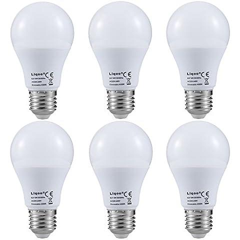 Liqoo® 6uds 8W Regulable E27 LED bulbo bulbos globo bombilla de la lámpara blanco neutro 4000K, 640 reemplazo Lumen 50W para lámparas incandescentes, 270 ° Ángulo de visión, 2835 SMD, Ø60 x 112mm