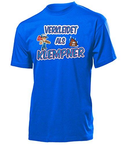 (Verkleidet als Klempner 5004 Karneval Fasching Kostüm Herren Männer Erwachsene Handwerker T-Shirt Karneval Faschingskostüme Karnevalskostüme Blau XL)