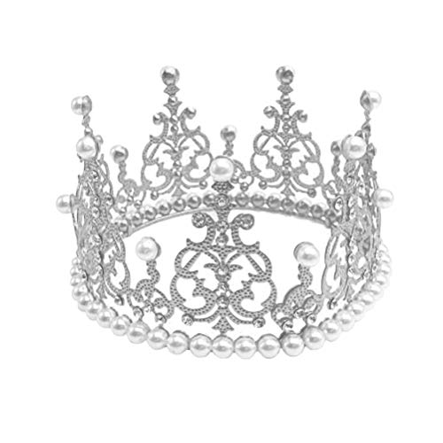 BESTONZON Cake Topper Crown Tiara Form mit Perle Strass Kuchen Dekoration für Baby Shower Geburtstag Hochzeit Party Supplies (Silber)
