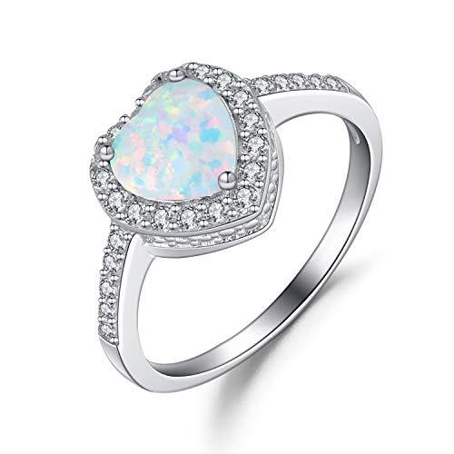 Weiß Opal Ringe Herz aus Silber 925 für Damen Ring Solitär Verlobungsring - Größe 57 mm