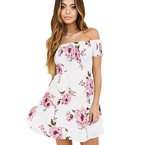 Zolimx Frauen Off Shoulder Floral Beach Kleid Casual Abend Party Minikleid (Rosa, S)