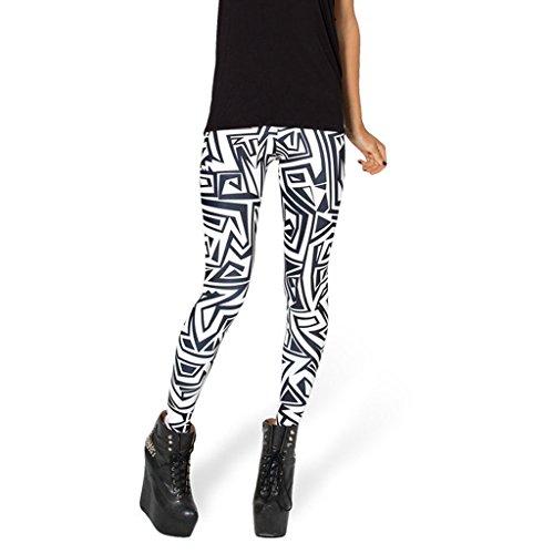 DODOING Damen Leggings Zebra Muster Graffiti Muster Schwarz Weiß Hose Stretch Pants Gemusterte Leggins Strumpfhose Frauen (Tights Footless Weiß)