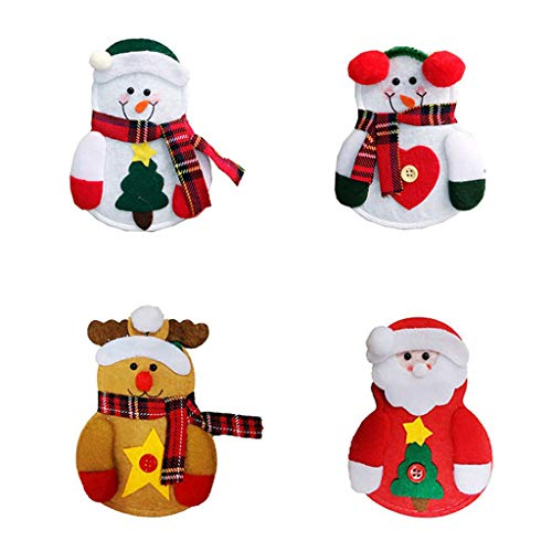 Weihnachten Besteckbeutel,Wawer 8 Stück Weihnachten Tischdeko Weihnachtsmann Hut Bestecktasche Besteckhalter Gabeltasche Kostüm Xmas Party Weihnachts Dekorationen