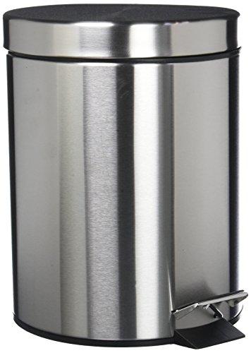 Mack Edelstahl Mülleimer Treteimer Abfalleimer Kosmetikeimer I rund, mit Deckel, 5 Liter (Badezimmer Mülleimer Mit Deckel)