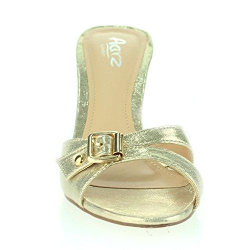 Frau Damen Schnalle Verschönert Schlüpfen Dünn Mittlerer Absatz Abend Party Lässig Sandalen Schuhe Größe Gold