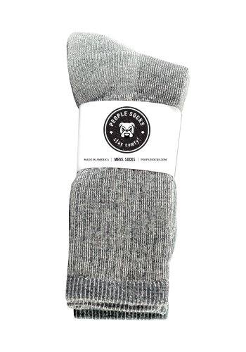 4 pack Mens People Socks Below Zero Merino Wool Acrylic Blend Thick Calf socks for Hiking and Camping made in USA