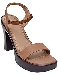 Glitzy Galz Beige Block Heels