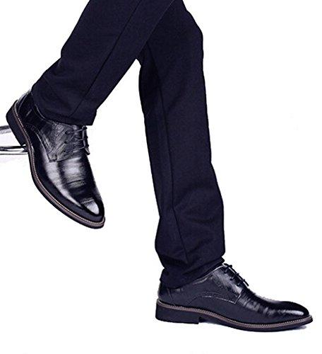 DADAWEN Homme Classique Commercial Leather Chaussure Bout Pointu Noir