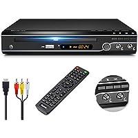 Gueray Reproductor DVD HDMI para Televisión Portátil Reproductor de DVD de Toda la región con resolución HD 1080P con Puerto USB y Puerto Mic Dual y Control Remoto (No es Compatible con BLU-Ray Disc)