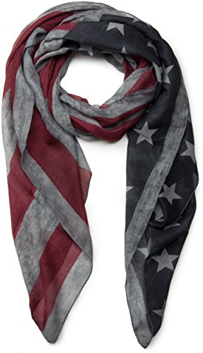 styleBREAKER Vintage Design USA Flaggen Muster Schal, Stars and Stripes, Unisex 01016084, Farbe:Grau (Stars And Stripes-flagge)