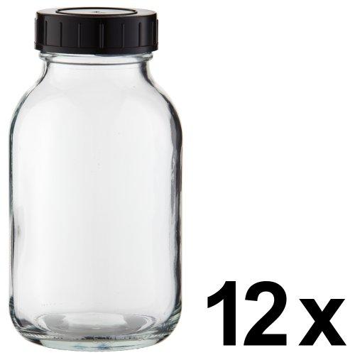 12 x Weithalsflasche 500ml Klarglas inkl. Schraubverschluss mit Dichtungsscheibe *** Weithalsflaschen, Schraubgläser, Weithalsgläser, Glasdosen, Allzweckgläser, Haushaltsgläser, Weithalsglas, Schraubglas, Allzweckglas, Haushaltsglas ***