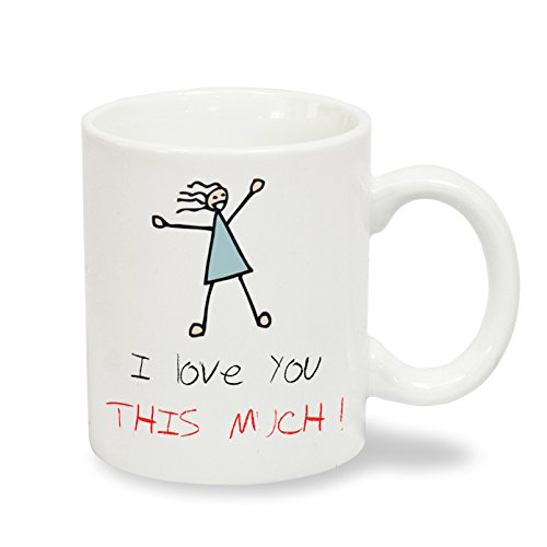 """Brandneue \""""I Love You This Much\"""" Romantic Partnerring-MugsnKisses Exklusive Collection Kaffeebecher"""