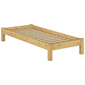 Erst-Holz® Einzelbett Futonbett 90×200 Kiefer Natur Massivholz-Jugendbett Singlebett Rollrost