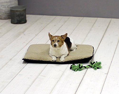 Homeoutfit24 Malu Hundedecke M 100 x 70 x 5 cm braun beigewaschbar weich Plüsch kuschelig Fell Bezug Hundebett Hundematte Hundekissen - 4