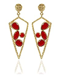 The Bohemian E2617 - 289 Red Petal Cluster Alloy Gold Plated Dangle & Drop Earring For Women