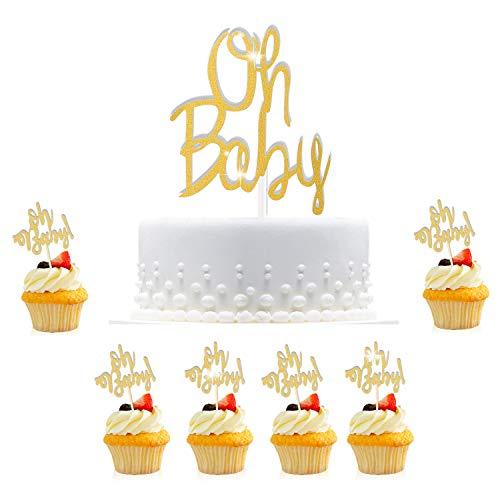Hifot Baby shower Kuchen deko, 30pcs Oh baby Cupcake Topper Dekorationen, Kuchen Lebensmittel Dekoration Gold Tortendeko Kuchenaufsätze für baby Junge Mädchen