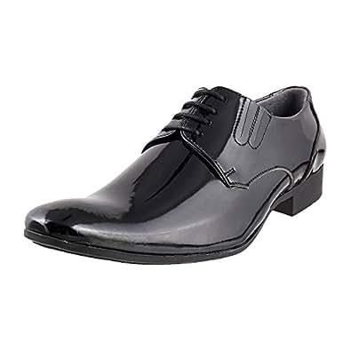 Mochi Men's Black Leather Formal Shoes - 12 UK (19-3683)