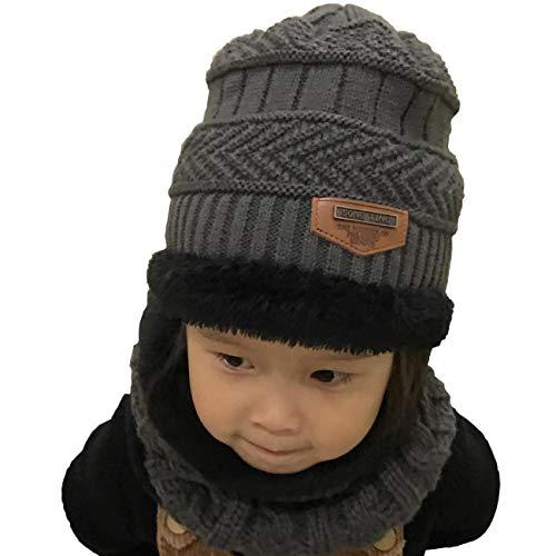 Yuson Girl Conjunto de Bufanda y Gorro de Punto para niños Forro Polar de  Lana Beanie fa8bdb8f44e